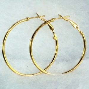 Jewelry - 18K Yellow Gold Plated Round Hoop Earrings